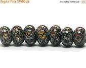 ON SALE 30% OFF Seven Aspen Wonder Rondelle Beads - 11008301 Handmade Glass Lampwork Beads