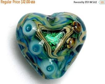 ON SALE 50% OFF Mirage Lake Heart Focal Bead - Handmade Glass Lampwork Bead 11803705