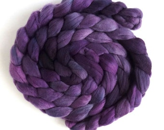 Merino Wool Roving Superfine - Hand Dyed Spinning or Felting Fiber, Violet Shadows