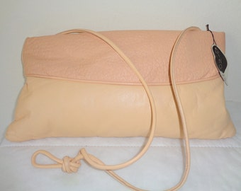 GINO USA  NOS top frame bag,opulent clutch butter soft thick lamb and  buffalo salmon pink leather large size evening bag vintage 80s
