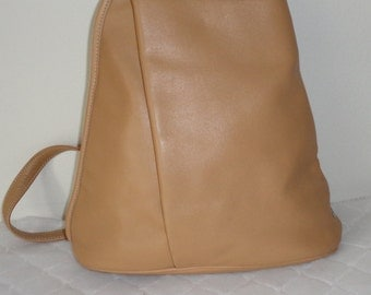 Tignanello backpack daypack  tote satchel thick butter soft leather black vintage 90s