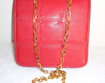 Lord and Taylor  fancy satchel purse cross body bag lipstick red buttery leather vintage 80s MINT condition