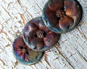 24. Three Crazy for Raku Dogwood Blue Silver Copper  Two Hole Buttons