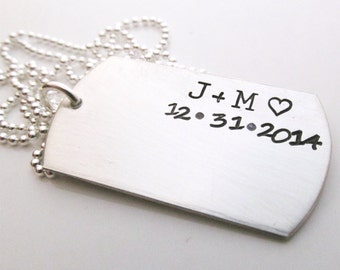 Personalized Men's Necklace - dog tag necklace - Gift for him - Valentine's Day - Sterling Silver Men's Jewelry - You and Me