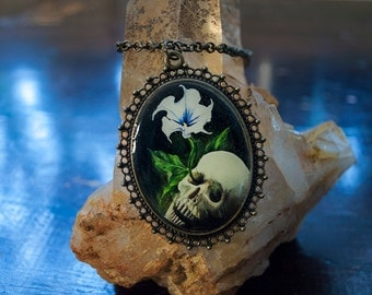 HUGE Death Head Necklace - Vita Brevis (life is short) - skull pendant charm, deadly nightshade flower, human skeleton from oil painting