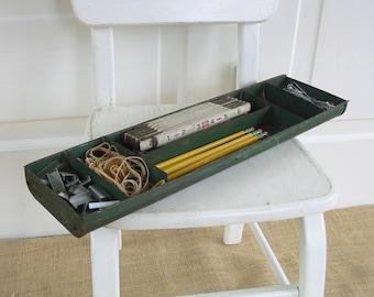 Vintage Metal Divided Box, Green Metal Box, Metal Tote, Industrial Storage, Metal Desk Organizer, Metal Tray