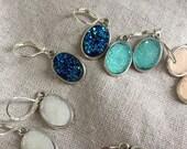 Druzy Earrings, silver Druzy Earrings, boho chic, Faux Druzy Earrings