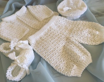 Baby Boy Christening, Christening set, baby boy christening, crocheted christening set, newborn blessing outfit, crocheted baby boy clothes