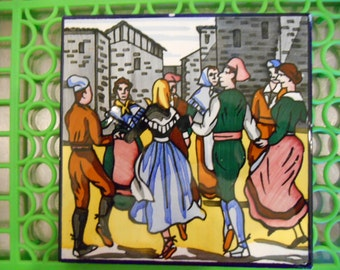 Vintage Made in Spain Ceramic Tile of men and women dancing in a circle
