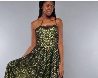 JULY SALE Vintage Strapless Dress // Black Lace Party Dress // Citron Satin // Full Skirt // M