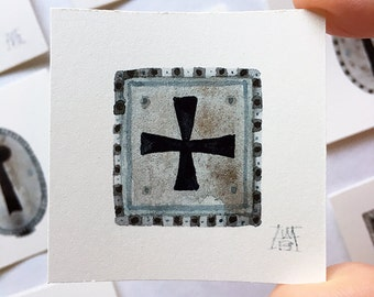 Escutcheon No. 8, miniature watercolor painting