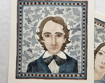 Bright Star, Portrait of John Keats, original watercolor painting