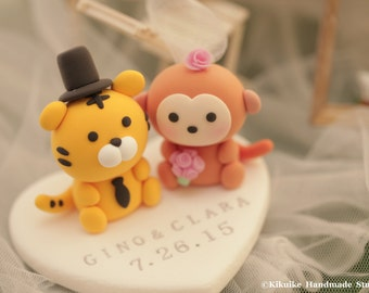 tiger and monkey cake topper