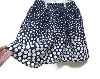 Vintage Polkadot Skirt, Navy Blue & White Polka Dot Skirt, Pleated Mini Skirt, Flared Vintage Skirt, Navy Blue Skirt, Short Retro Skirt XS S