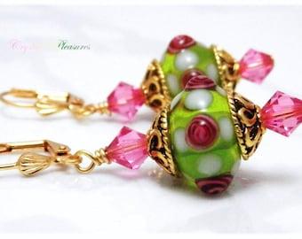 Giny's Garden Swarovski Crystal Element Lampwork Earrings