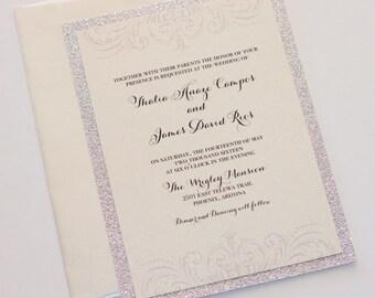 Silver Glitter Wedding Invitation - Vintage Invitation - Elegant Invite - Lace Wedding Invite - Ivory Creme Champagne Silver - Thalia Sample