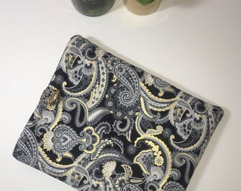 iPad Case, iPad Cover, Tablet Case, Fabric iPad Case, Gift Idea, Black and Gold iPad Cover