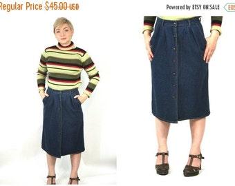 FLASH SALE 90s Button-Up Denim Skirt / Midi Jean Skirt Soft Grunge Minimalist Hipster Mid Length Skirt with Pockets / Size L Large 12