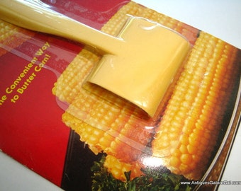 1970's Corn Butterer, Retro Kitchen Gadget, Tool, Plastic, Yellow, Made in Hong Kong, Original Unopened Package  (12-16)