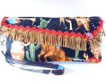 Retro Rockabilly clutch, cowgirl wristlet, western bag, pinup girls, western purse, western wear, country western wedding, evening bag
