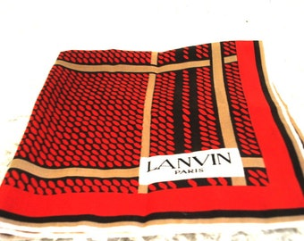 Fall fashion vintage 70s teracotta silk scarf with a brown and beige stripes. Made by Lanvin, Paris.