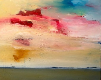 Pink and Yellow Sunset, Original oil painting on canvas