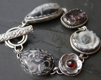 RESERVED LAYAWAY for Lisa  oOo crinoid fossil, chalcedony druzy, garnet, orthoceras,  and sterling silver metalwork link bracelet