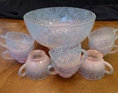 Vintage Drizzle Ware Punch Bowl and Mugs Spaghetti String Ware