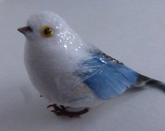 Vintage Small Blue and White Spun Cotton and Feather Bird NOS