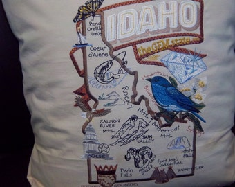 Embroidered State Map Pillow Idaho