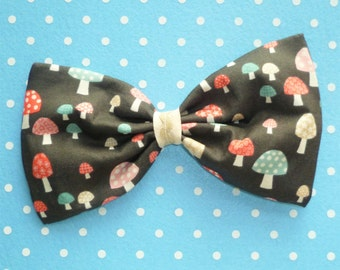 Cute Patterned Toadstool Large Hair Bow Clip