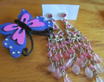 pink dangles plus butterfly