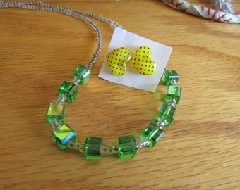 glass green cube necklace