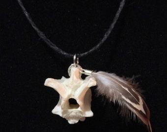 Tribal Feather Opossum Bone Taxidermy Charm Necklace