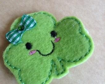 Felt St. Patrick's Day Green Shamrock Hair Clip, Toddlers Hair Clips, St. Patrick's Day, Green, Felties, Clippies, Hair Bows (Item 15-1069)