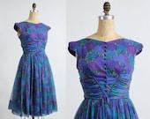 ON SALE 1960s Purple Dress FLORAL