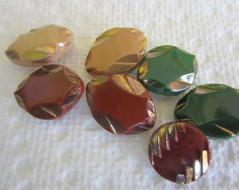 Vintage Button- 4 beautiful Art Deco, fall colors with gold accents, very old, glass buttons ( oct 230)