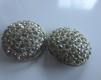 Vintage Buttons - 2 beautiful large matching rhinestone embellished, antique silver finish metal (dec12b)