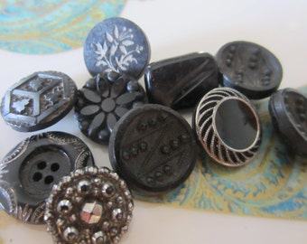 Vintage Button -  beautiful lot of 10 assorted, some silver luster Victorian jet black pressed designs (jan 11 b)