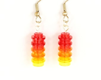 Red, Orange and Yellow LEGO® Brick Dangle Earrings