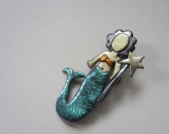 mermaid pin brooch with iridescent green tail and wand