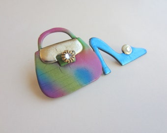 Shoe and Purse Pin Brooch in  blue and tye dye