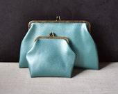 Pair of Metallic Blue Snap Closure Change Purses Clutch Vinyl Faux Leather 1950s 1960s Excellent Condition Pouch Coin Purse Makeup Bag