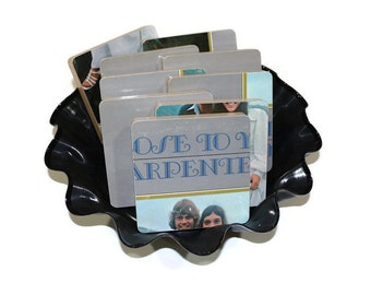 Carpentar's recycled Close to You album cover coasters with record basket