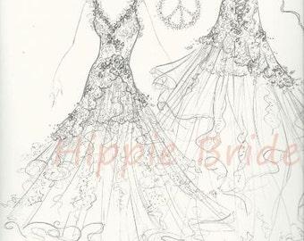 Reserved for Lissa Nicole Deposit for custom Boho Beach Princess Wedding Gown