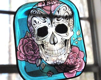 Sugar Skull with Roses Acrylic Sun Catcher Stained Glass Key Chain Decoration Pendant Hangy Thing Christmas Ornament Dangle D1