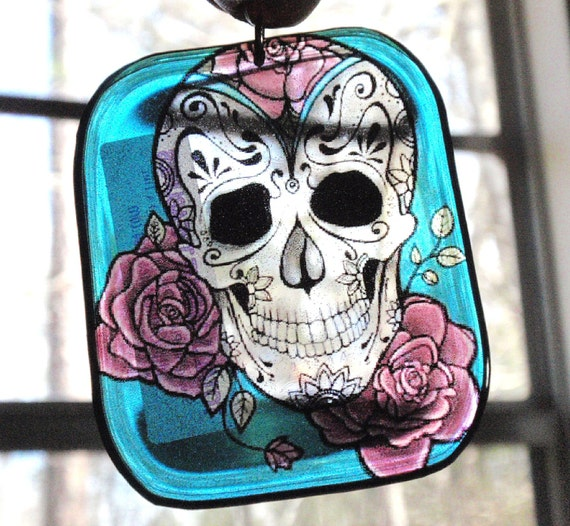 Sugar Skull with Roses Acrylic Sun Catcher Stained Glass Key