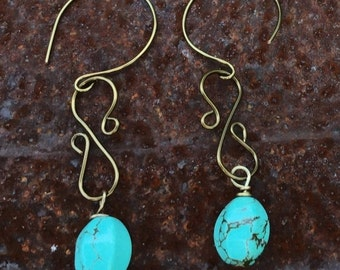 Annual Baby Sale Faceted Turquoise Dangle Earrings