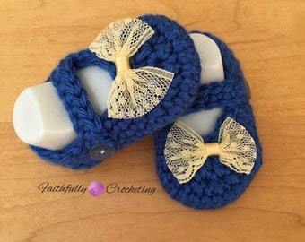 Newborn Mary Janes... Booties... Blue shoes.. Ready to ship