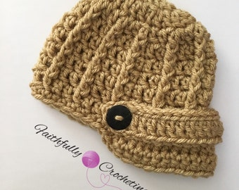 Newborn brim hat.. Brown beanie.. Newsboy hat.. Photo prop.. Ready to ship